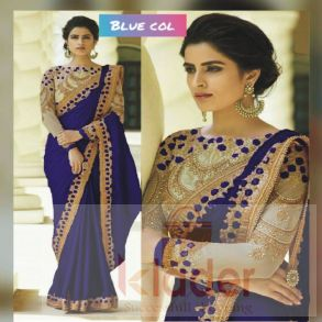 rangoli designer saree design blue