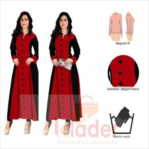 rayon v neck stylish gown red