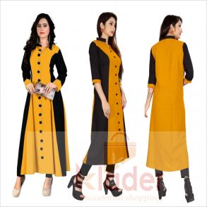 rayon v neck stylish gown yellow color