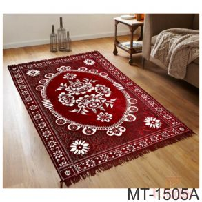 Abstract Maroon Coffee Brown Chenille Velvet Floor Mat