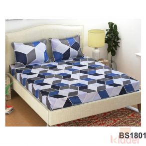 Double Glace Cotton Bedsheet with 2 pillowcover
