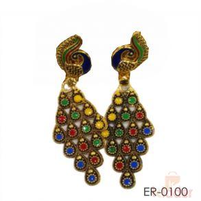 Golden Metal Multicolor Peacock Earrings or Jhumki for Women or Girls