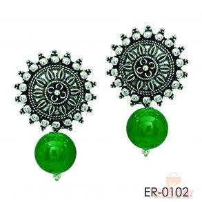 German Silver Stud Earring with Green Bead Earring for Women and Girls