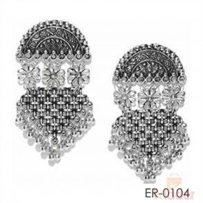 Stud Silver antique oxidised Designer Earrings