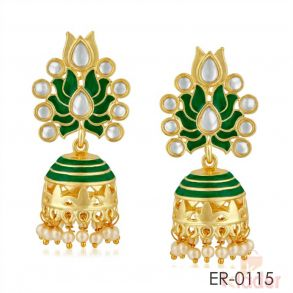 Rich Lady Indian Traditional Meenakari With Pearl Jhuma Jhumki Earrings For Women and Girls