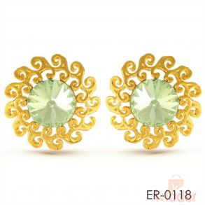 Rich Lady Ethnic Design Light Green Gold Finish Tops