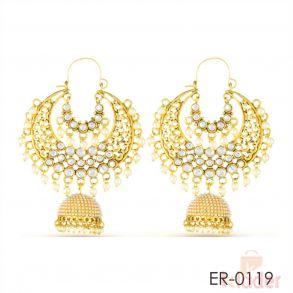 Rich Lady Jhumki Stylist Pearl Fancy Gold Finish Dangle Earrings