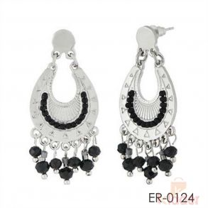 Black Beads Silver Plated Dangler Earrings