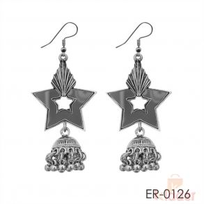 Silver Plated Mirror Dangler Earrings