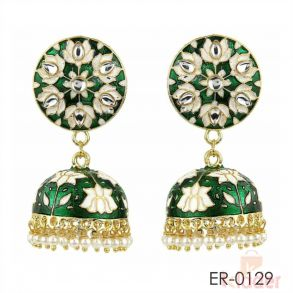 Jaipuri Meenakari brass Jhumka Earrings