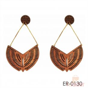 Women wooden ship dangler earrings