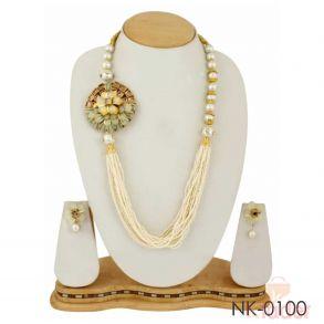 Partywear Dailywear Necklace Set Jewellers white