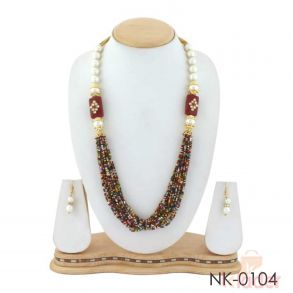 Multy Layered Beads Necklace with Earings multicolour