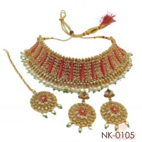 Women Necklace Set red and green