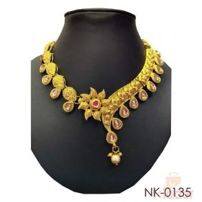 Women Copper Necklace Set with Earrings and Tika