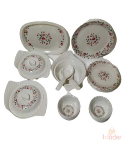 Melamine Dinner Set Smart Assorted Designs Heavy Round Shape Plates Set of 32 Pieces
