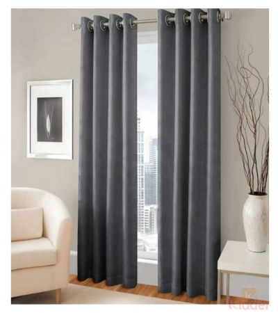 Beautiful royal heavy plain crush curtain colour grey size 4 x 7ft 10 Pieces