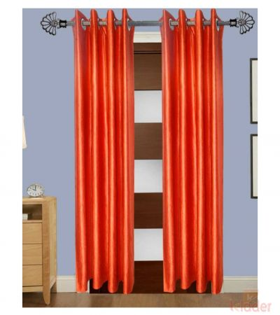 Beautiful Royal Heavy Plain Crush Curtain Colour Orange Size 4x7ft 10 Pieces