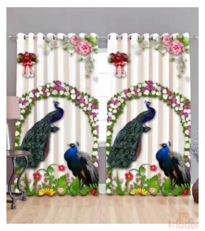 Best Quality Peacock Digital Print Curtain Size 4x7ft 2Pieces