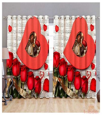 Best Quality Music with heart rose Digital Print Curtain Size 4x7ft 2Pieces