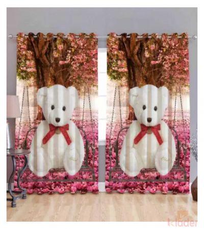 Best Quality teddy bear Digital Print Curtain Size 4x7ft 2Pieces