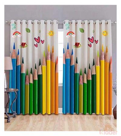Best Quality Colour pencil Digital Print Curtain Size 4x7ft 2Pieces