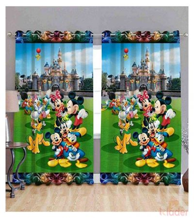 Best Quality Micky Mouse Digital Print Curtain Size 4x7ft 2Pieces