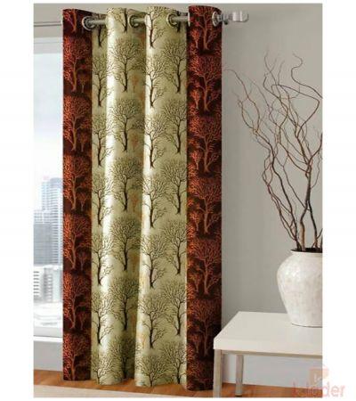 Printed Polyster Curtains COFFIE BROWN