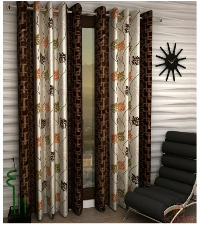 Printed Polyster Curtains Brown and Blue