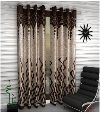 Designer Brown Colour Eyelet Polyester Curtain Door Length Set Of 2 Pieces 84 x 48 2Pieces