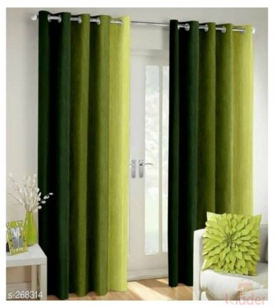 Beautiful Shaded Rainbow Green Long Crush Curtains Size 4 x 7 ft 10 piece