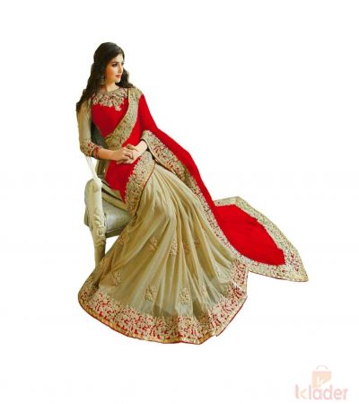 Designer Georgette And Lycra Heavy Embroidery Work Saree