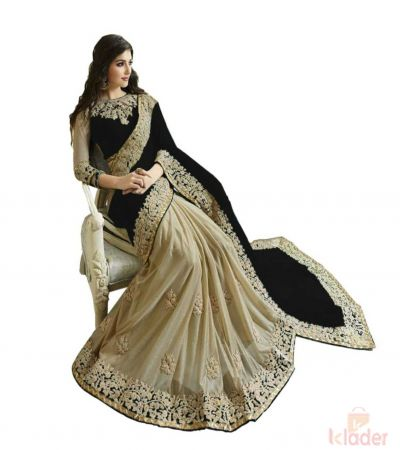Designer Georgette And Lycra Heavy Embroidery Work Saree Black