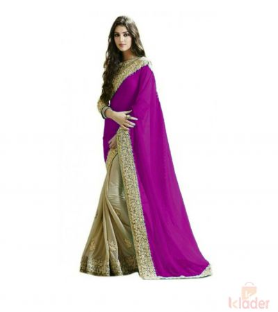 Designer Georgette Half Half Saree Violet