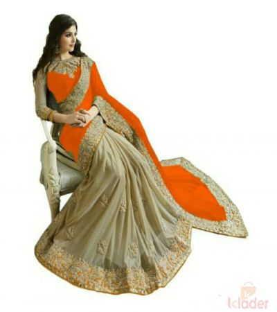 Designer Georgette Half Half Saree Orange