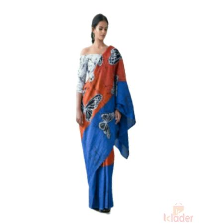 Hand Block Printed Cotton Mulmul Fabric Saree with Blouse Piece