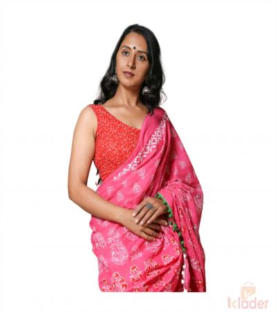 Cotton Casual Wear Hand Printed Saree For Women