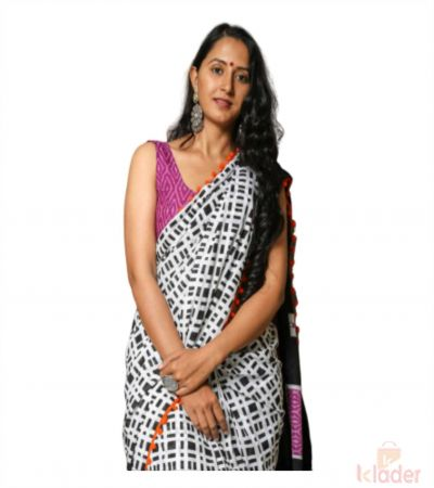Cotton Casual Wear Hand Painted Saree For Women Black and White