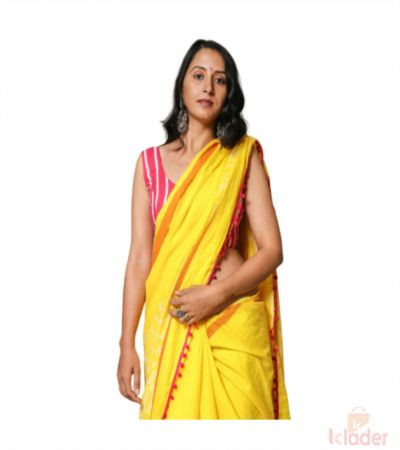 Cotton Casual Wear Hand Painted Saree For Women Yellow