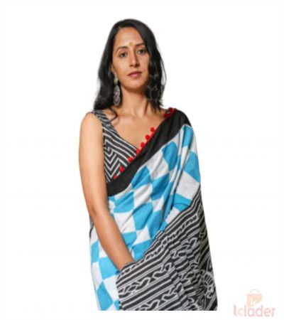 Cotton Casual Wear Hand Printed Saree For Women Sky Blue With Black