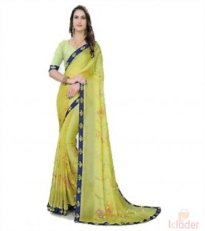 Women's Catalogue Printed Saree 6 Colours with Colured Border 6 Piece set