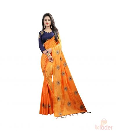 Designer Silk Embroidery Work Saree