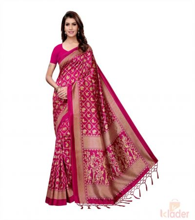 Art Silk Animal Print Saree For Women