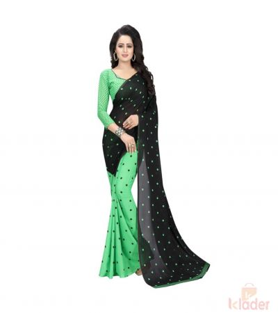 Green Printed Georgette Saree With Blouse Piece