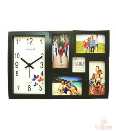 Rainbow Wall Clock and Photo Frame Black Colour 10 Piece set
