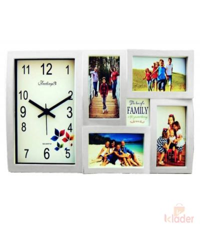 Rainbow Wall Clock and Photo Frame White Colour 10 Piece set