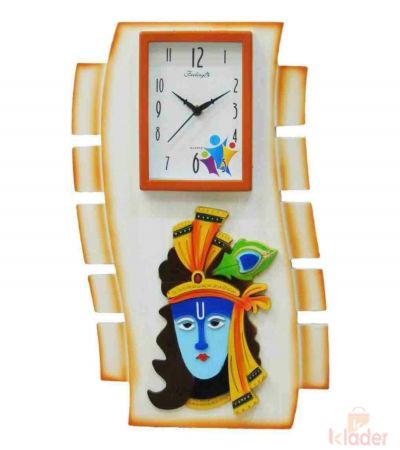 Wall Clock with Celebration Krishna Statue 6 Piece