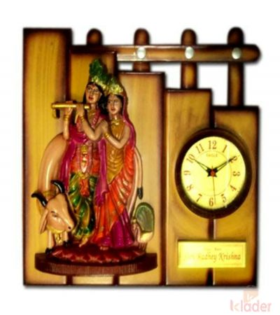 Glory Wall Beauty Radha Krishna Clock 4 Piece