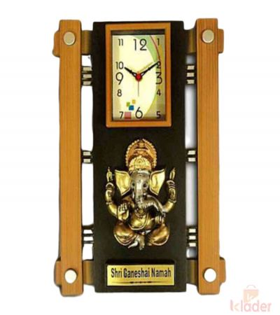 Wall Clock With Ganesha Statue 8 Piece