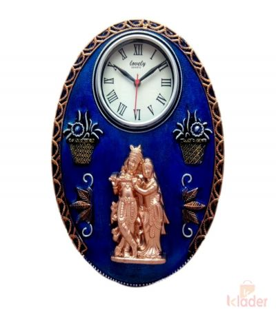 Ovel Shaped Clock with Krishna and Radha 6 Piece
